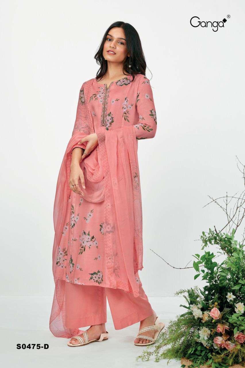 Ganga Ruzen 475 Series Bemberg Silk satin Printed With Swarovski diamond Work Dress Material collection