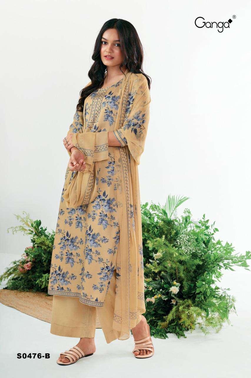 Ganga Ruzen 476 Series Bemberg Silk satin Printed With Swarovski diamond Work Dress Material collection