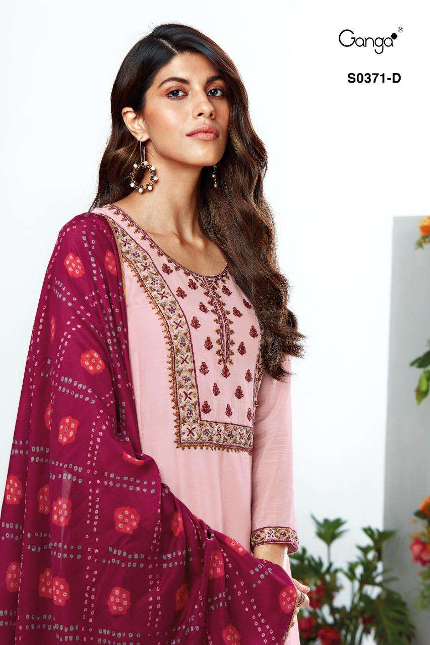 Ganga Vaani 371 Series Bemberg Silk With Heavy Hand Work Suits collection