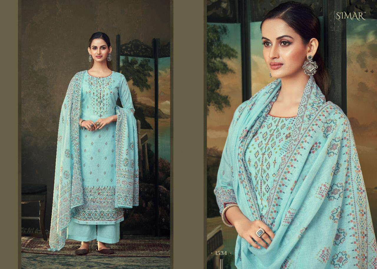 Glossy Simar Mirai cotton digital print With Hand Work Dress Material collection