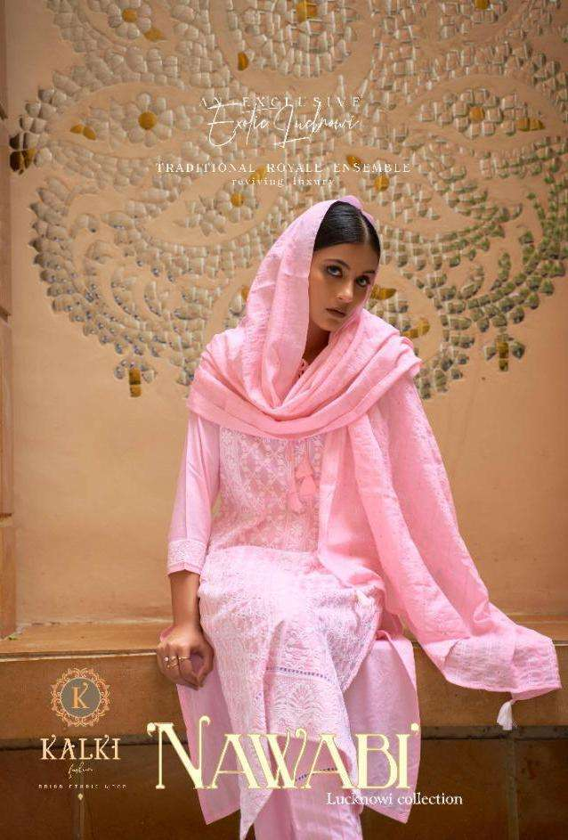 Kalki Fashion Nawabi Pure Viscose Fancy Lucknowi Embroidery Work readymade Suits collection
