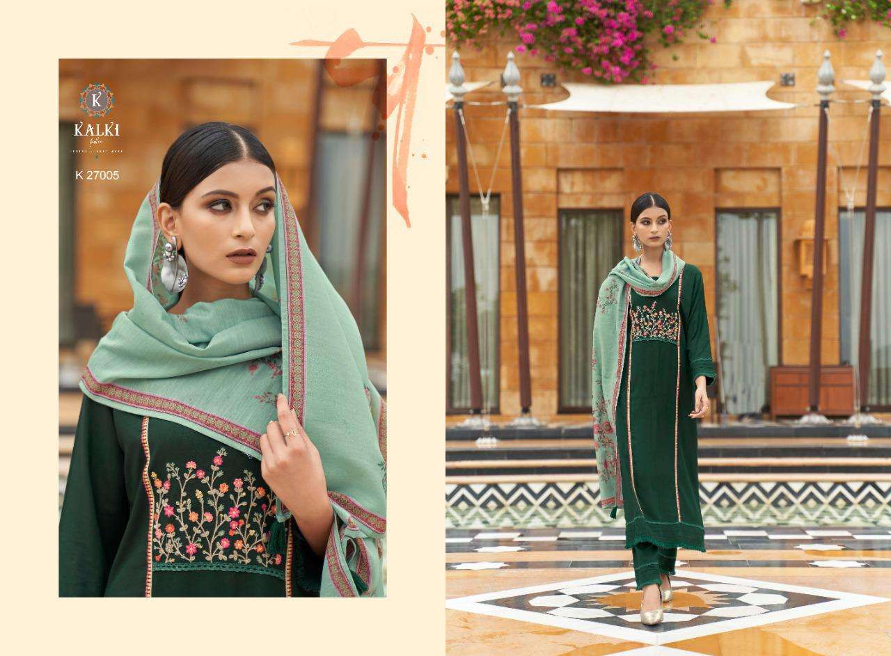 Kalki Fashion Rehab Pure Viscose Rayon With Fancy Embroidery Work Kurtis With Bottom Dupatta Collection