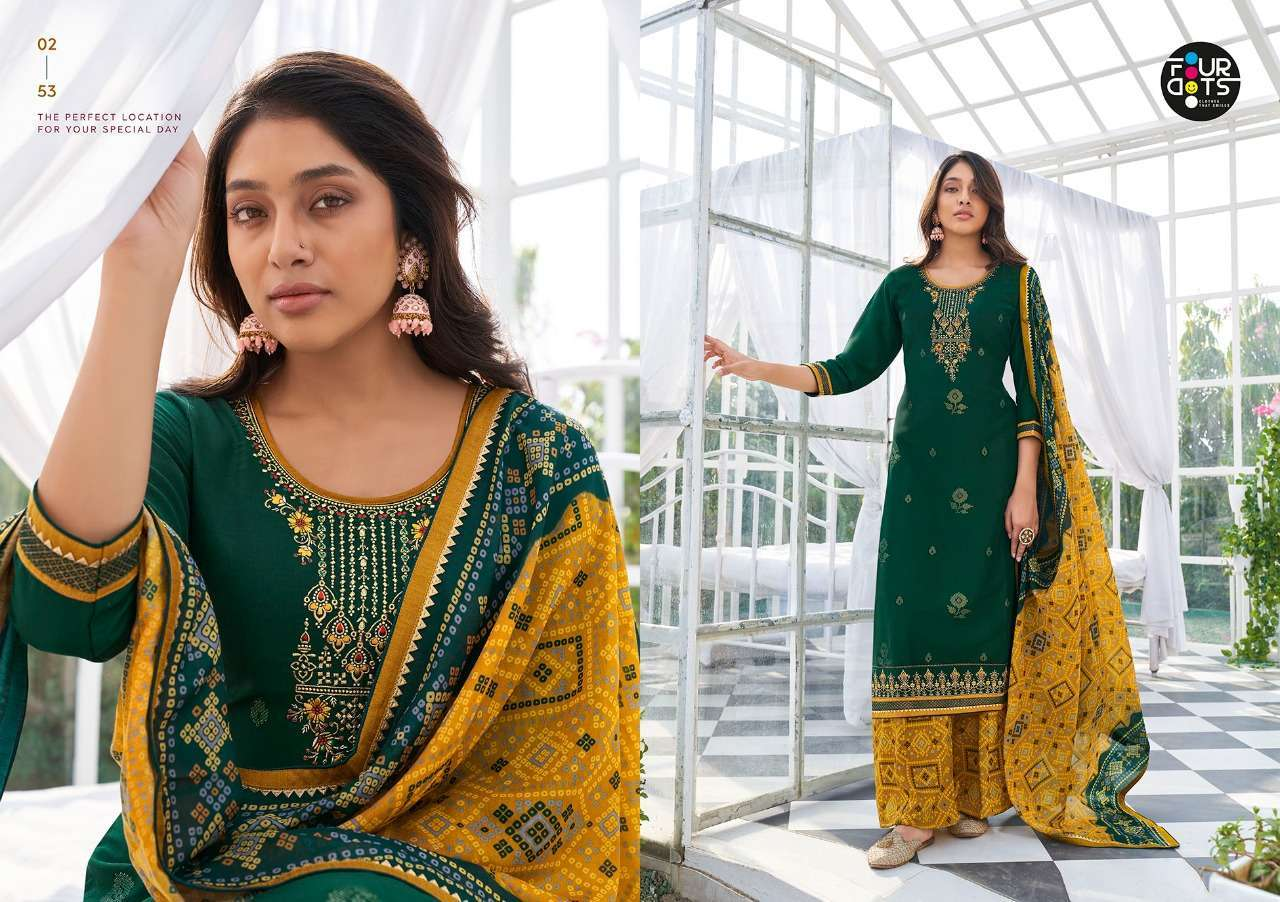 Kessi Fabrics Four Dots Mannat Silk With embroidery Sequence Work Dress Material Collection