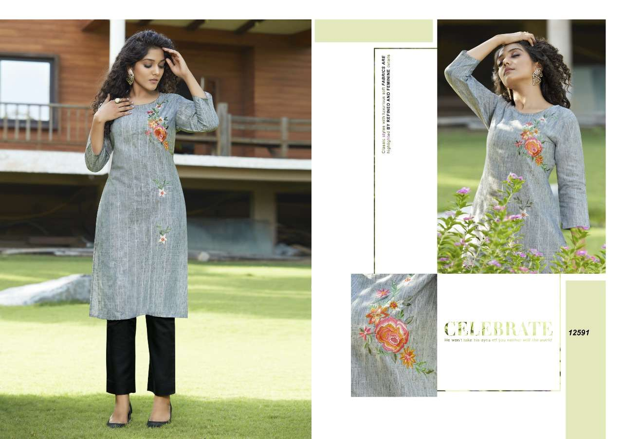 Kessi Fabrics Kalaroop Vintage Fancy Lurex Lining with Embroidery Work Kurtis With pant collection