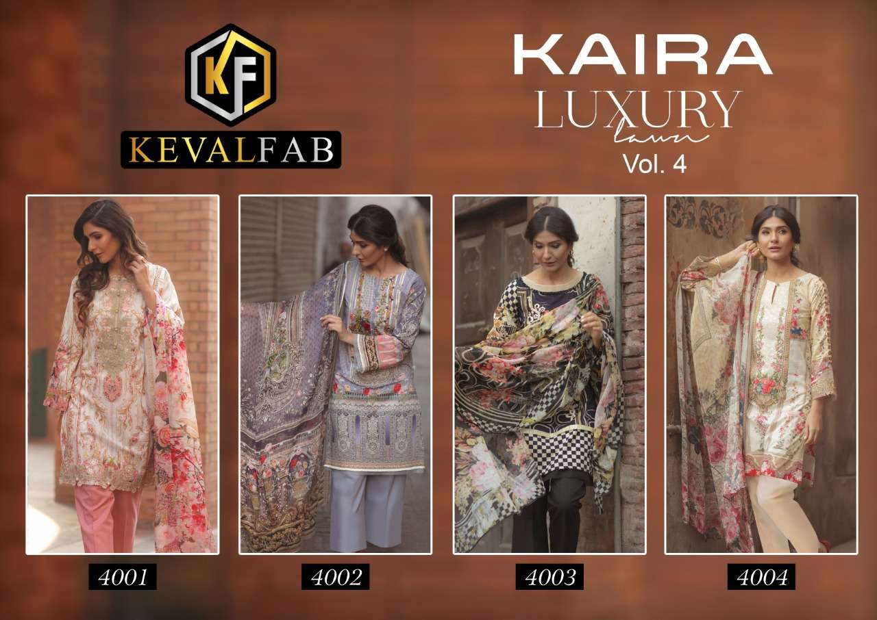 Keval Fab Kaira Luxury Vol 4 Pure lawn Karachi printed Dress Material collection