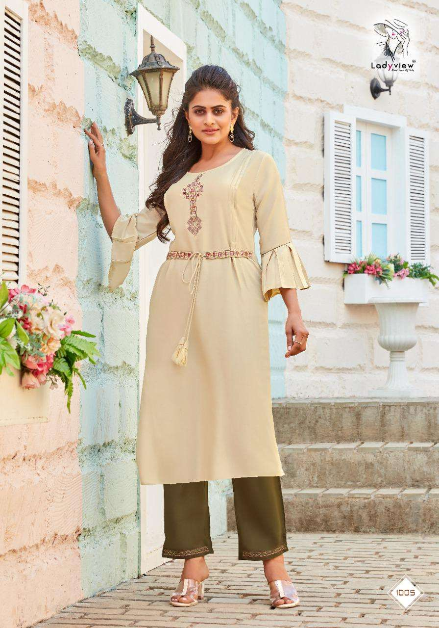 Ladyview Beltom Rayon with Embroidery Work Kurti With Bottom Collection
