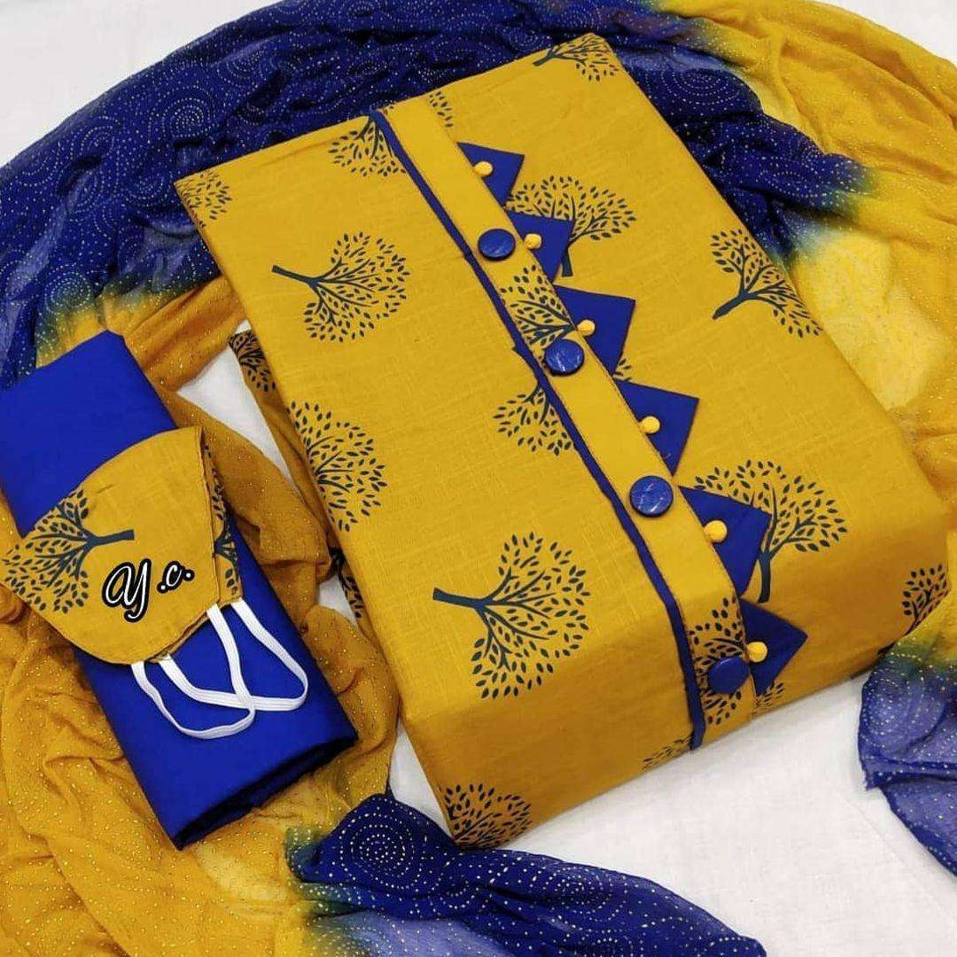 Latest Slub Cotton With Printed Dress Material Collection