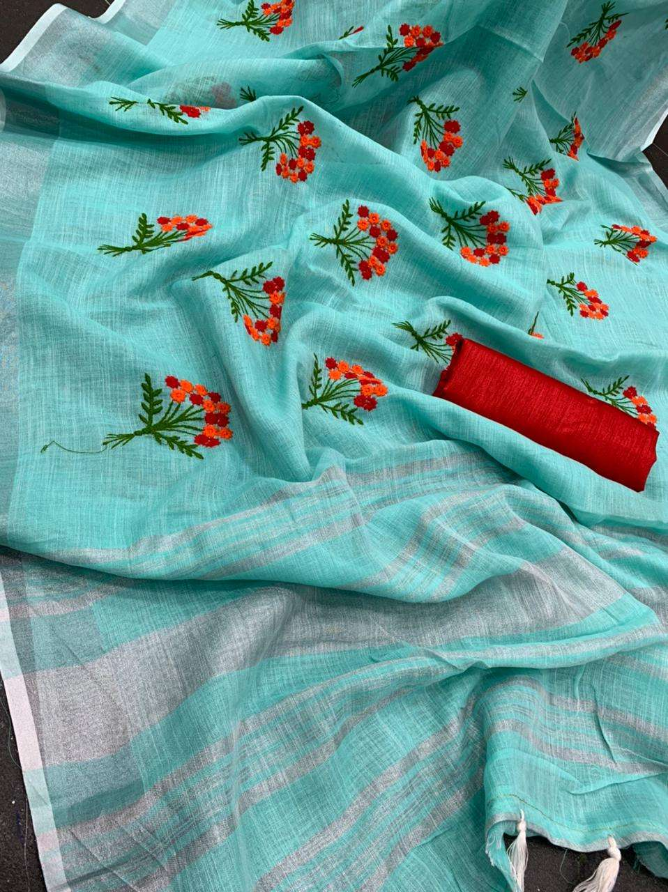 Linen Cotton With Fancy Embroidery Work Sarees collection
