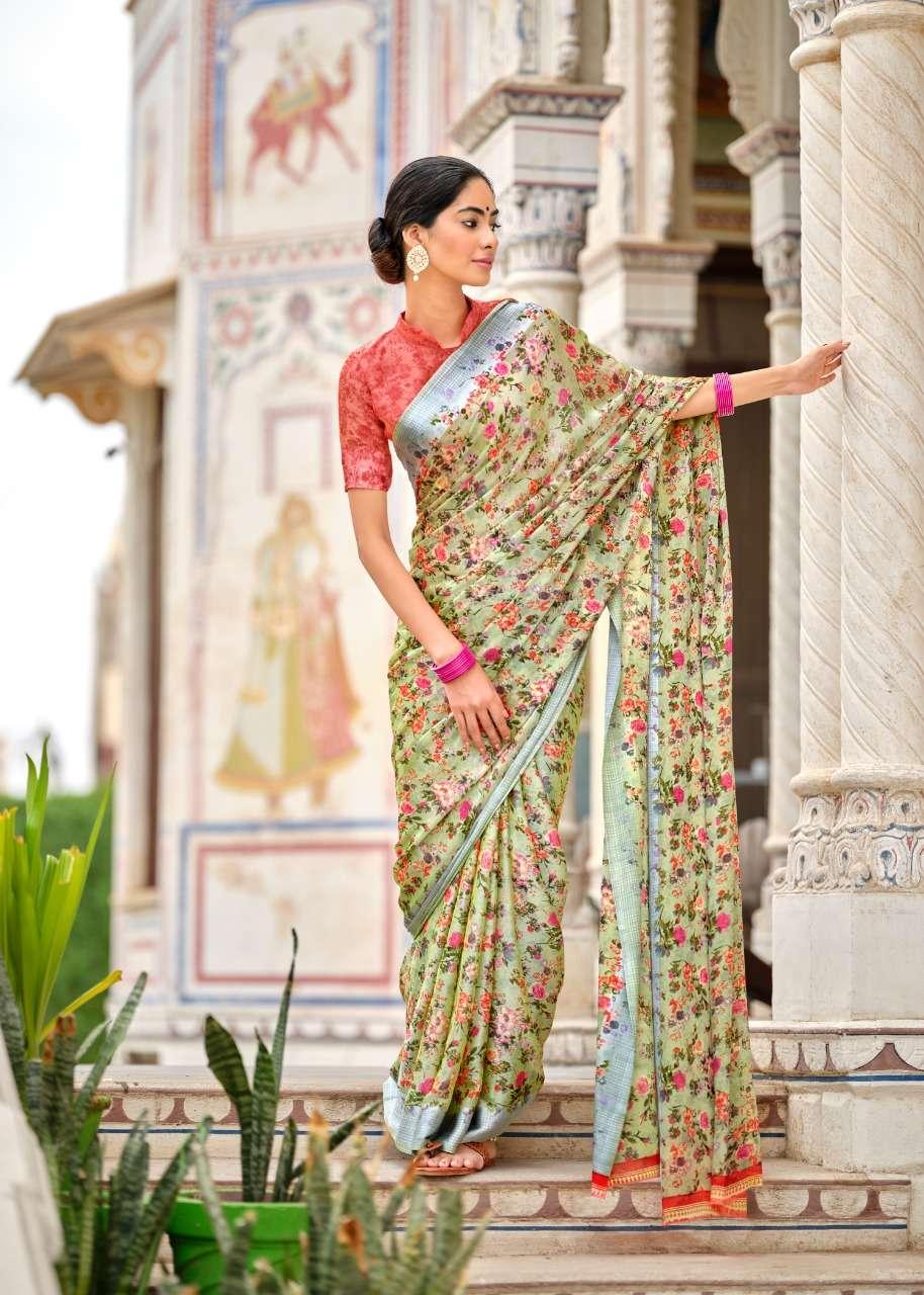 LT Fabrics Kashvi Chitrangana Fancy moss Satin Patta sarees Collection