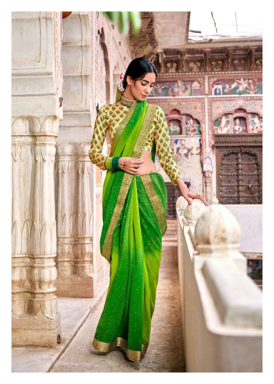 LT Fabrics Kashvi Gulmohar Georgette With gold Zari Sarees Collection