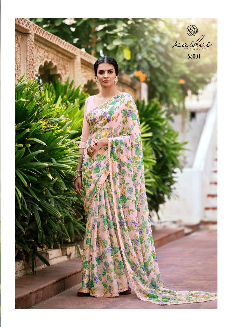 LT Fabrics Kashvi Olivia Chiffon Printed with fancy Lace Sarees collection