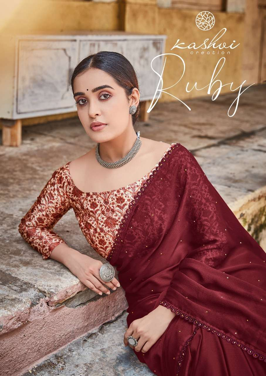 LT fabrics Kashvi Ruby Moss chiffon With Sequence Blouse Sarees collection