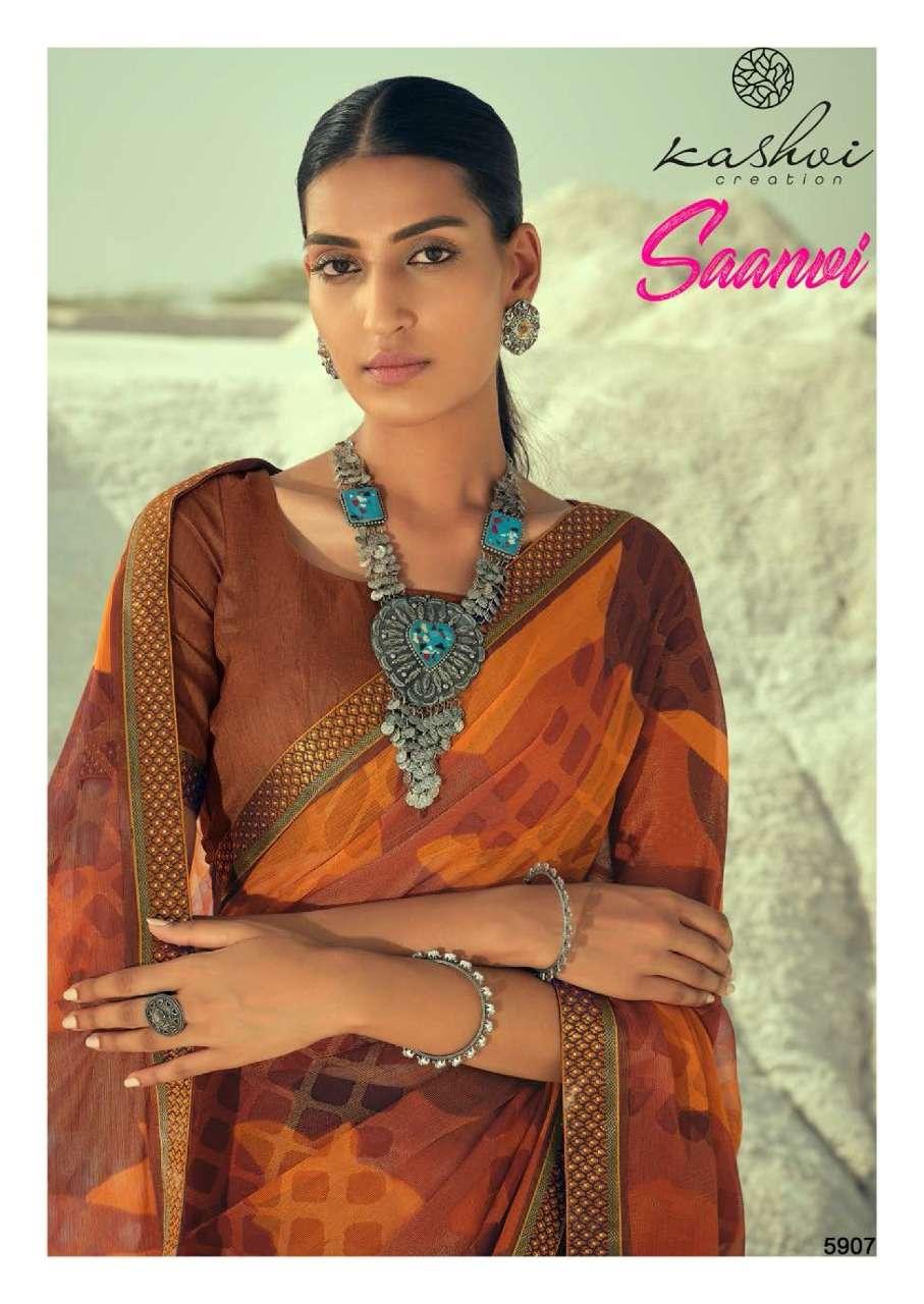 LT Fabrics Kashvi Saanvi Chiffon Brasso Sarees collection