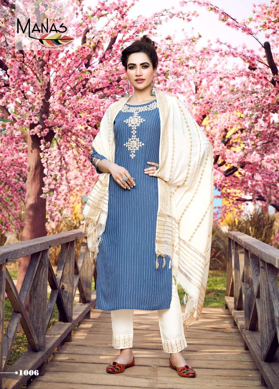Manas Fab Glamour City Rayon with Coding Embroidery Work Kurti With Bottom Dupatta Collection