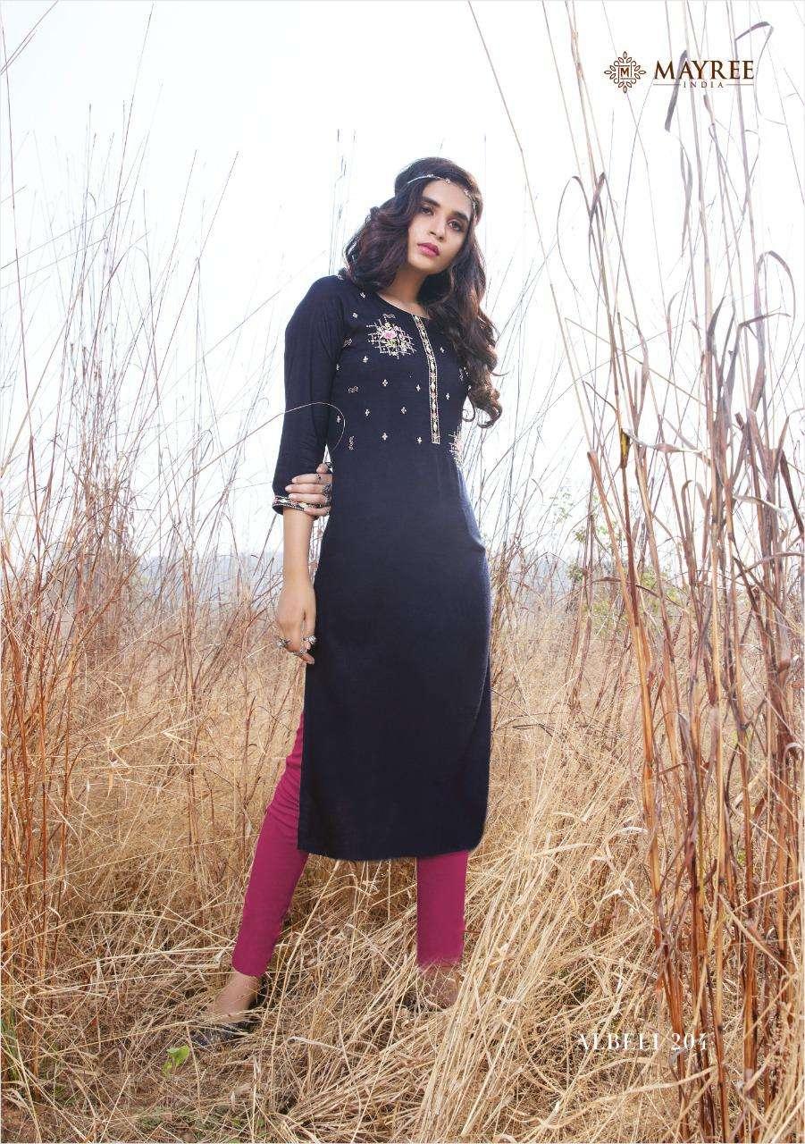 Mayree Albeli Vol 2 Slub Rayon With Thread Embroidery Work Kurtis collection