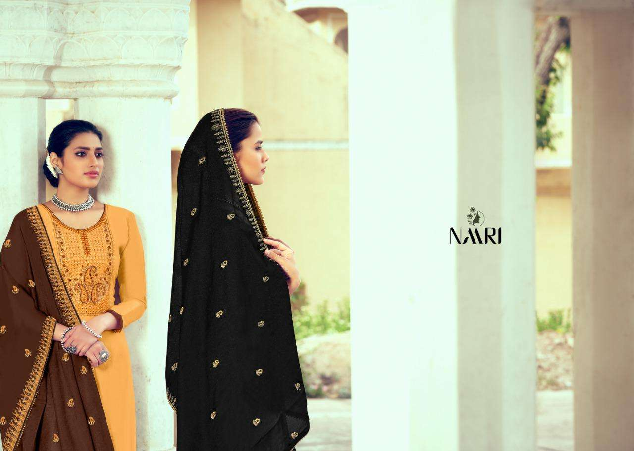 Naari lubna Pure Russian silk With Embroidery Work Dress Material Collection