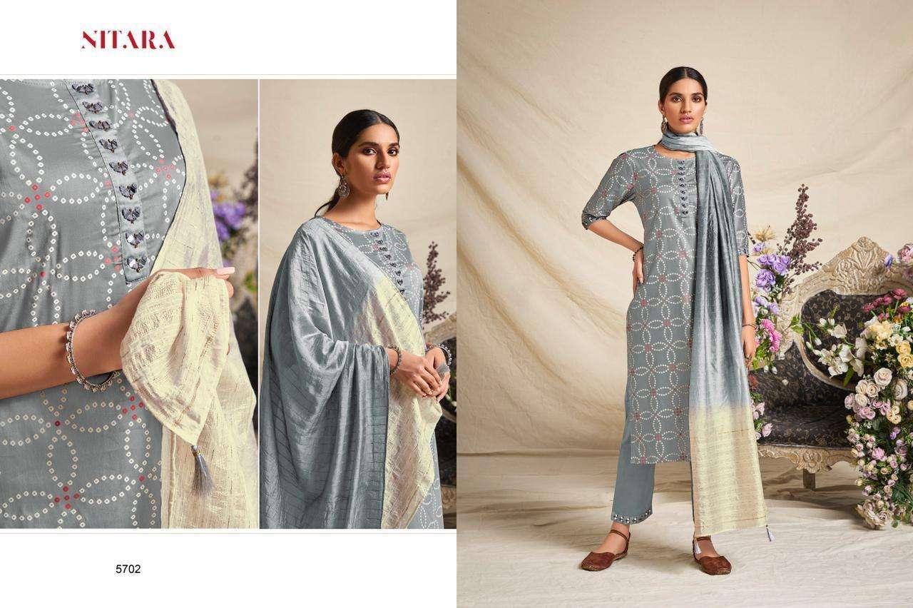 Nitara Bandhej Cotton Satin With Mirror Work Readymade Suits Collection