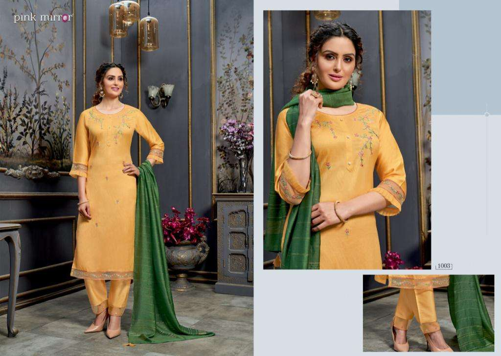 Pink Mirror Radiant Viscose With Embroidery Work Kurti With Bottom Dupatta Collection