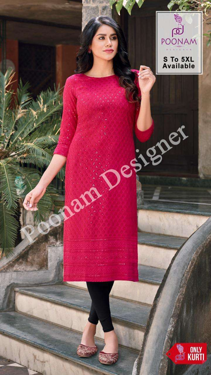 Poonam Designer Rayon Lucknowi Pure Rayon Chicken Sequence Work Kurtis collection