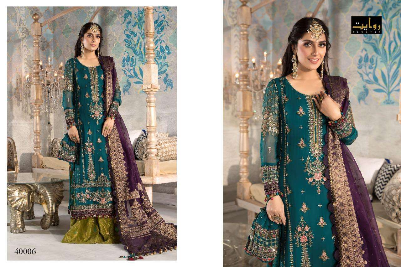 Rawayat Mbroidered Collection 2021 Georgette With Embroidery Work Pakistani Suits collection