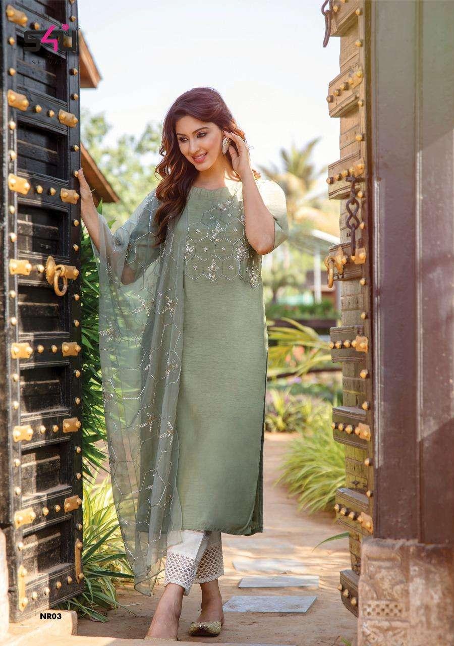 S4u Noor Muslin With Hand work Kurti With Dupatta collection