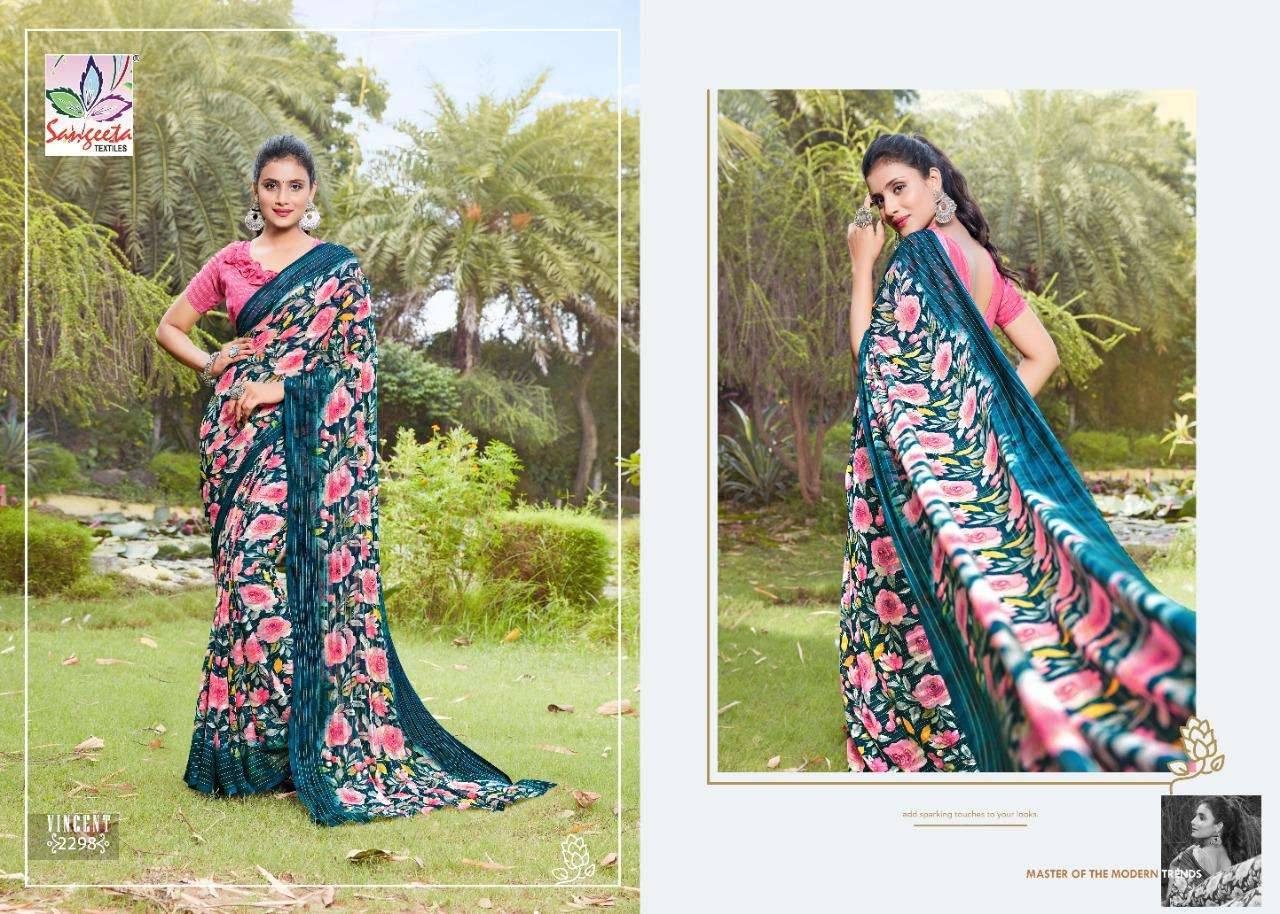 Sangeeta Vincent Georgette With Viscose border Sarees collection