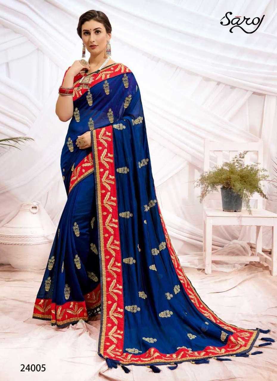 saroj Rudraksh Dupion With Embroidery Butta Work Designer Sarees Collection