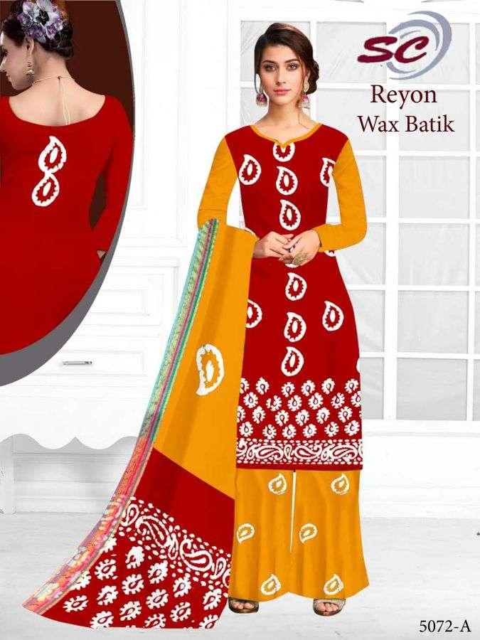 SC Reyon wax Batik Rayon Cotton Bandhani Printed Dress Material collection
