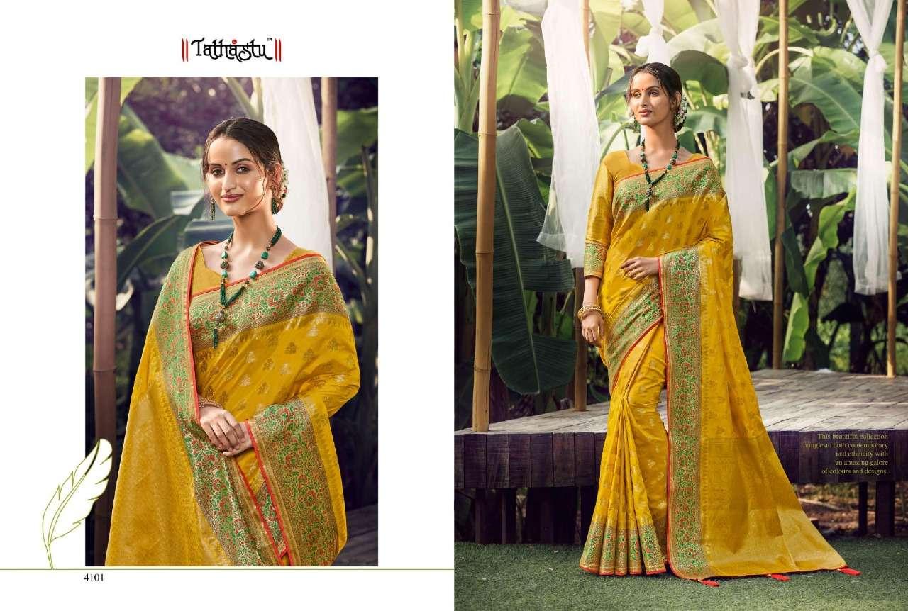 Tathastu 4100 Series Heavy Designer yellow Silk Sarees Collection  010