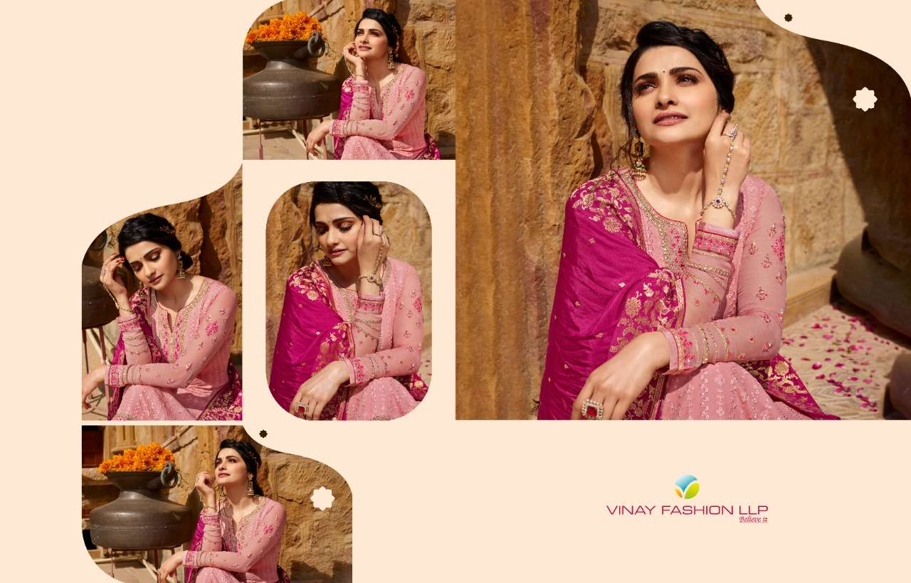 Vinay fashion Kaseesh Moon Hit list Georgette With embroidery Work Dress Material collection