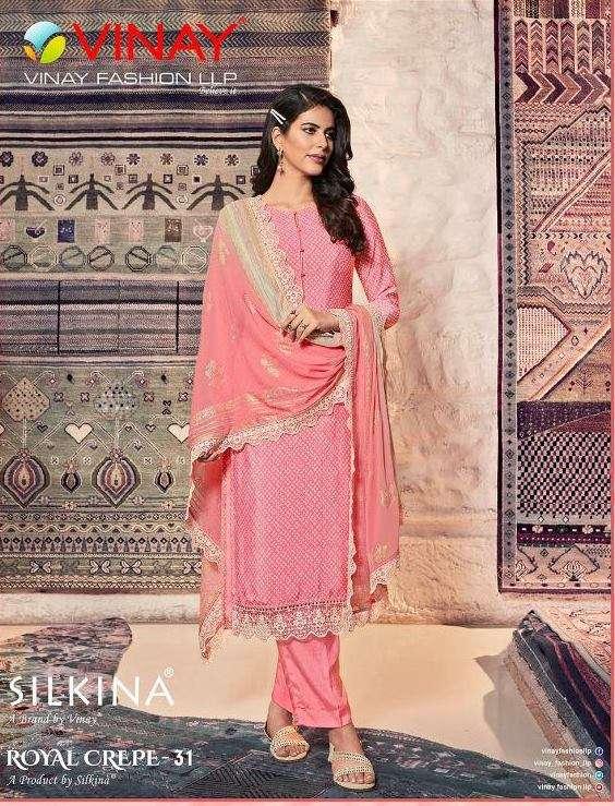 Vinay fashion Silkina Royal Crepe Vol 31 Crepe With Work Dress Material collection