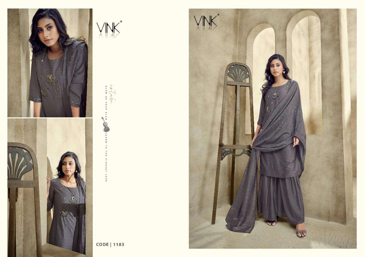 Vink Violin Silk With Work Kurti With Sharara And dupatta Collection