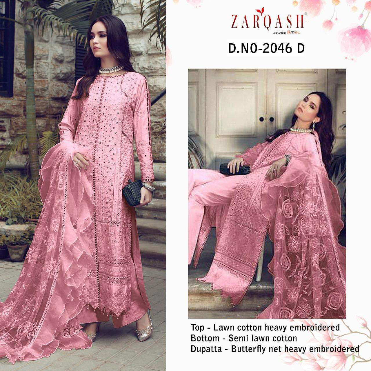 Zarqash Rouche Lawn Cotton Wit Heavy Embroidery Work Pakistani Suits collection