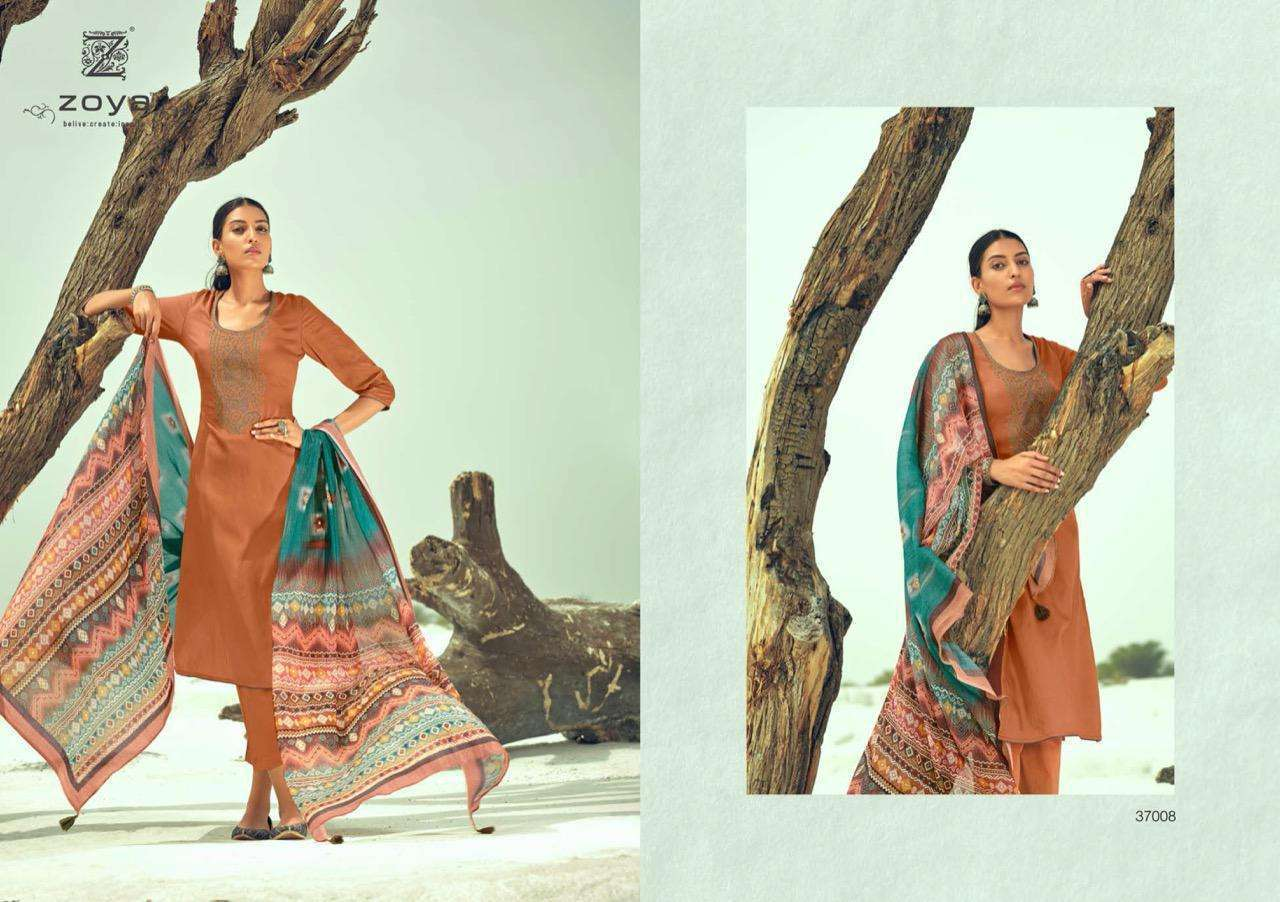Zoya Amira Cotton Satin with Embroidery Work Dress Material Collection