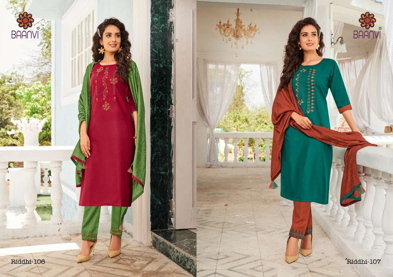 Baanvi Riddhi vol 1 Cotton With embroidery Work Readymade suits collection