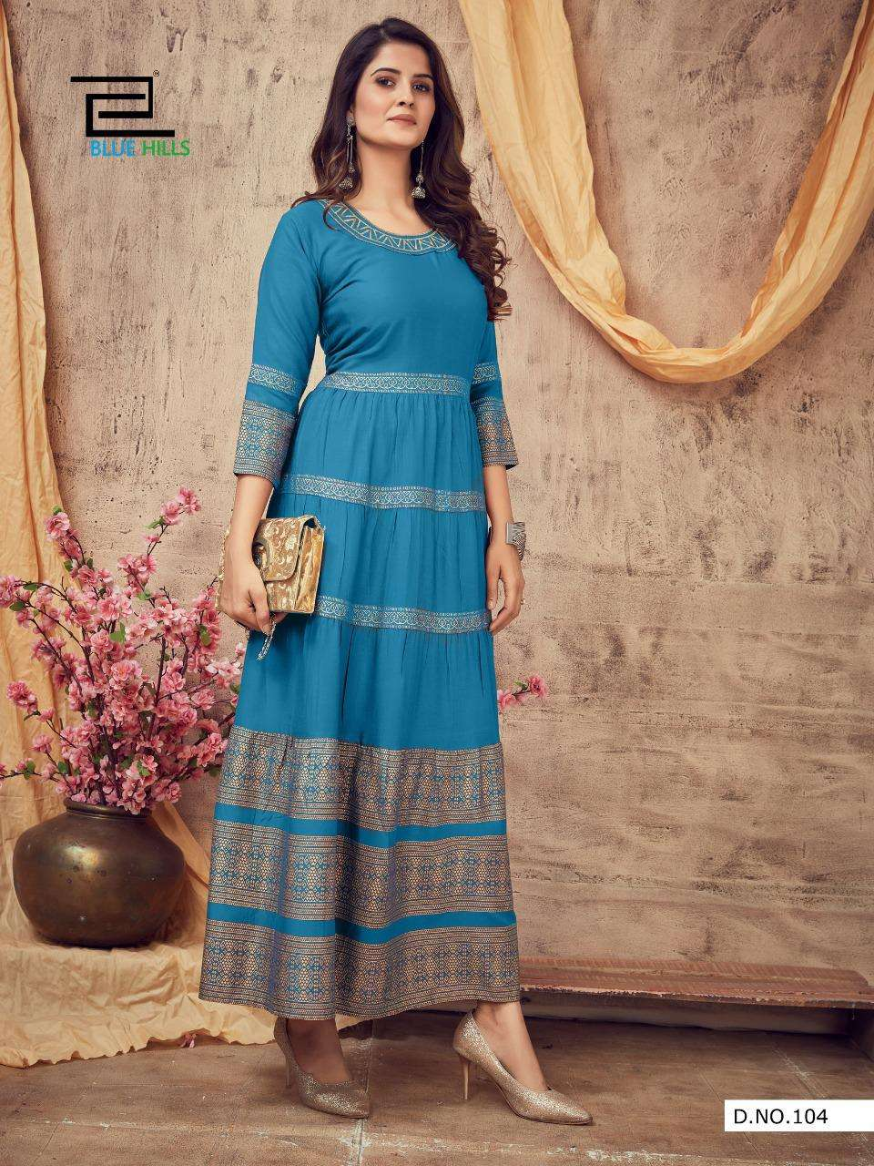 Blue Hills Leela Vol 3 Rayon With Gold print Gown Style Kurtis Collection