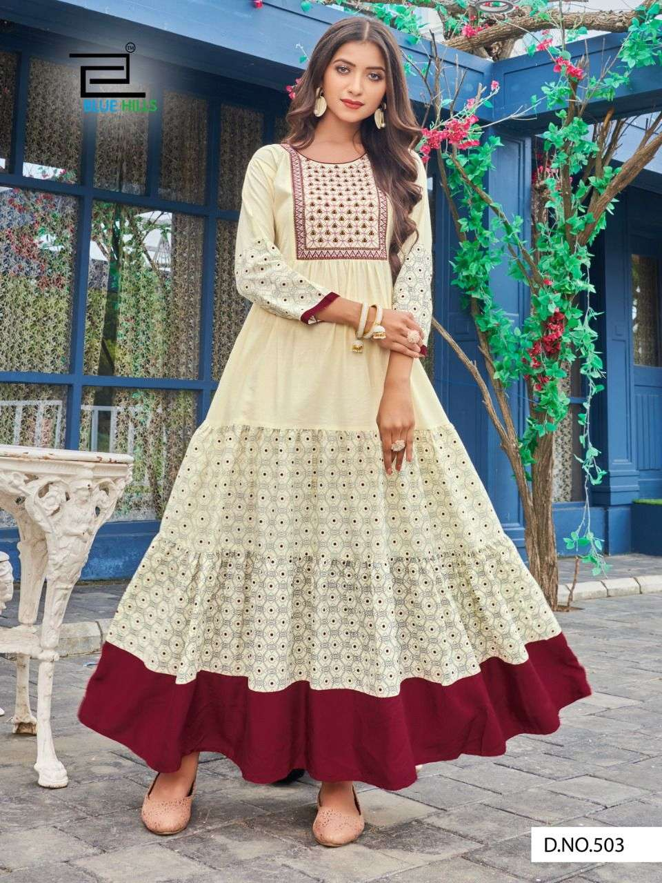 Blue Hills Livik Vol 5 Cotton Cambric With Work Gown Style Kurtis collection