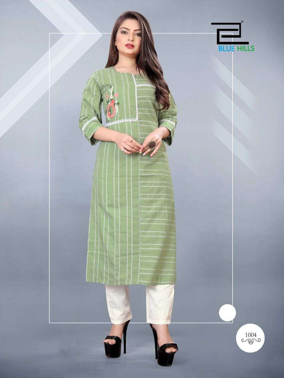 Blue Hills Orchid Cotton Jacquard With Work Kurtis With Pant Collection