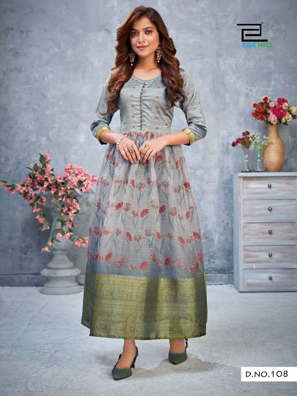 Blue Hills Style 4 You Vol 1 Organza Digital Print With Silk Butti Kurtis collection
