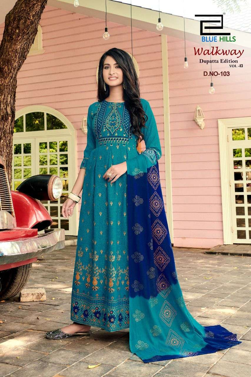 Blue Hills Walkway Vol 13 Rayon Two Tone Foil Print Kurti with Dupatta Collection