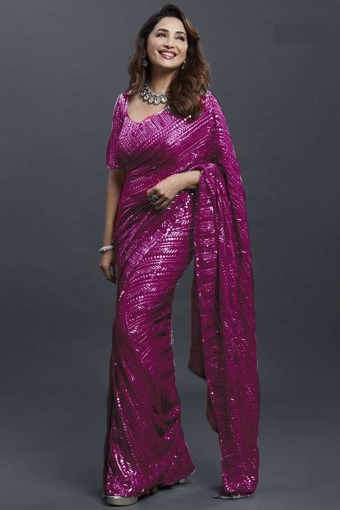 BT-1022 GEORGETTE WITH FANCY SEQUNCE WORK BOLLY WOOD WEAR SAREE COLLECTION AT WHOLESALE RATE
