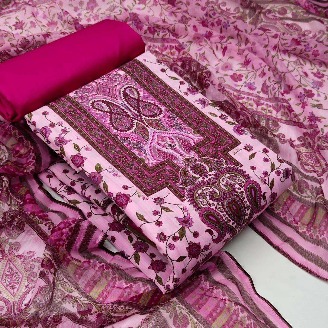 Cotton With Floral Printed Dress Material Collection 01