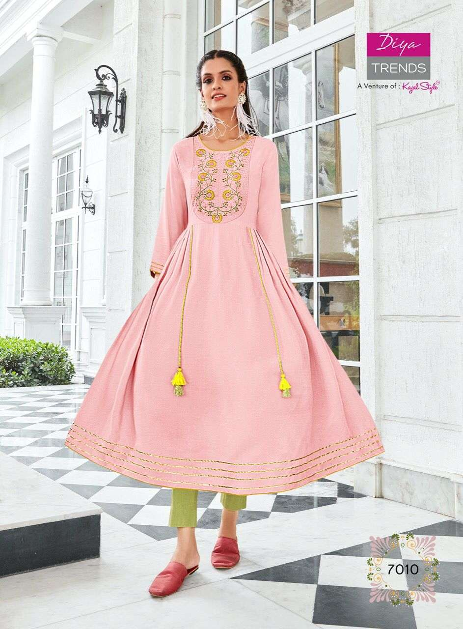 Diya Trends Ethnicity Vol 7 Rayon Printed With Fancy Embroidery Work Kurtis Collection