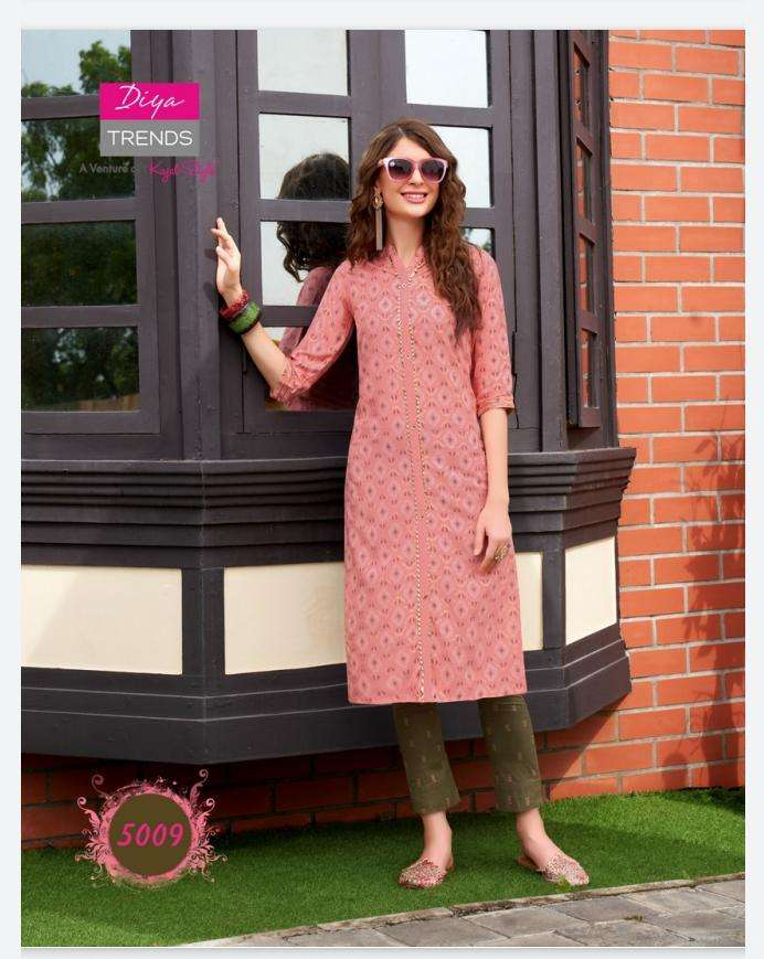 Diya Trends Fashionista Vol 1 Rayon printed with Embroidery Work Kurtis With Pant collection