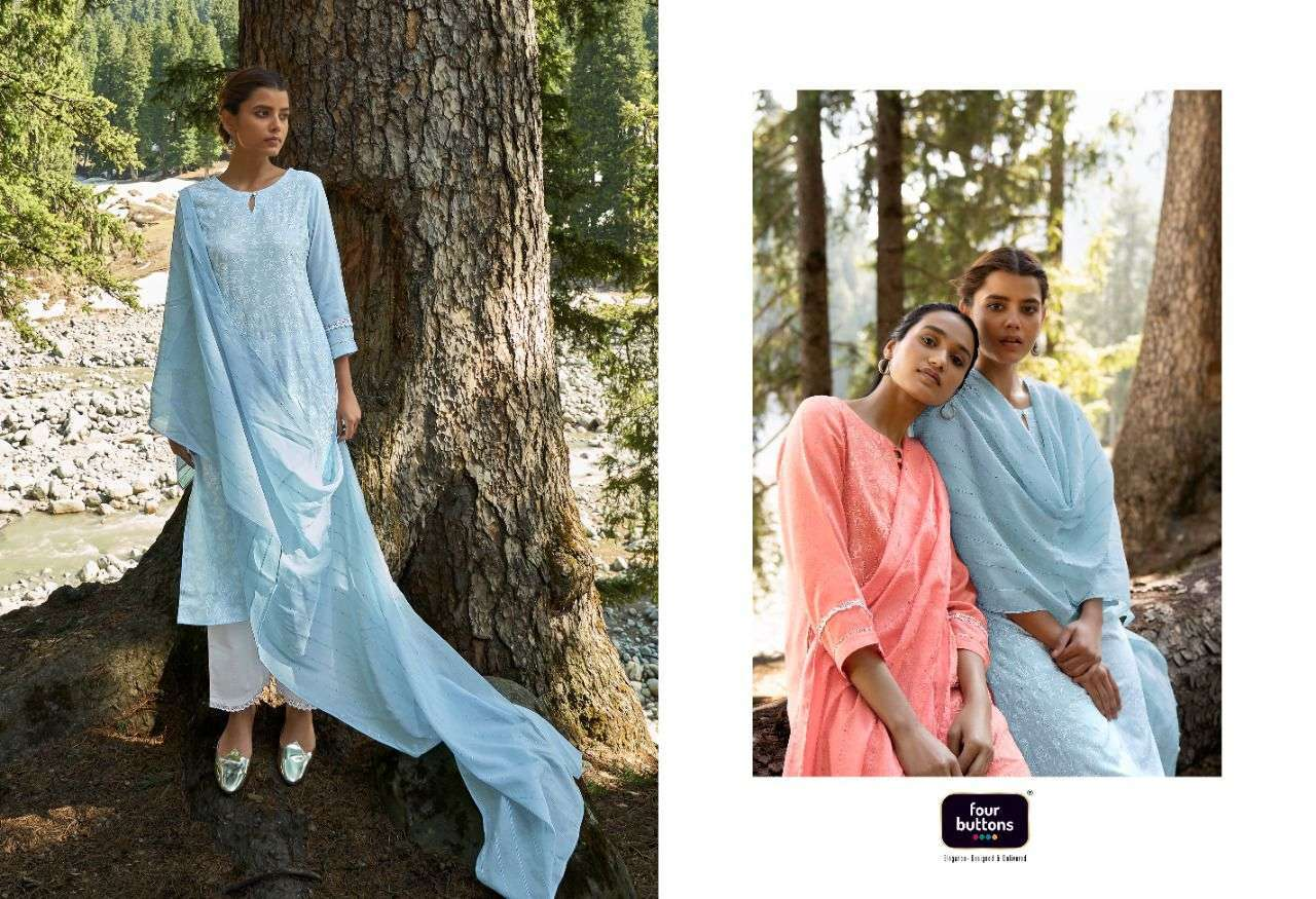 Four Buttons Four Gems Vol 4 Viscose Silk With Printed Kurtis With Bottom And Dupatta Collection