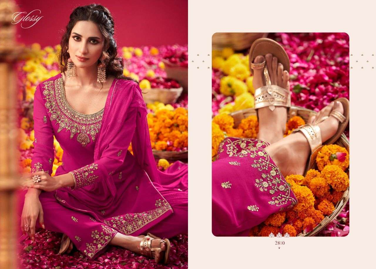 Glossy Simar Naqsh Pure georgette With Swarovski Diamond Work Dress Material collection