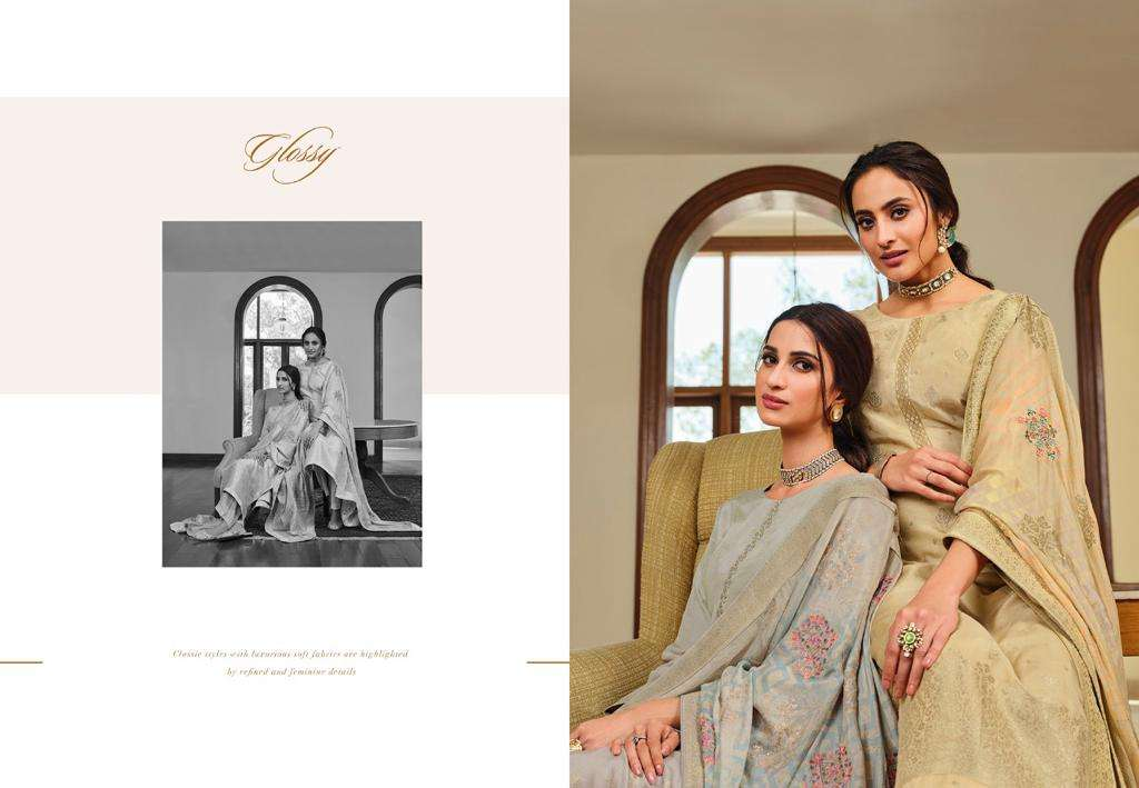 Glossy Simar Rivera Viscose Dola Jacquard Dyed With Sequence Embroidery Work dress Material collection