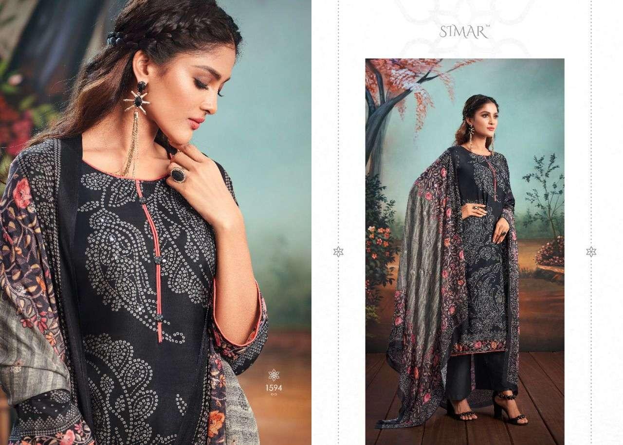 Glossy Simar Saavan viscose Muslin Digital Print With hand Work Dress Material collection