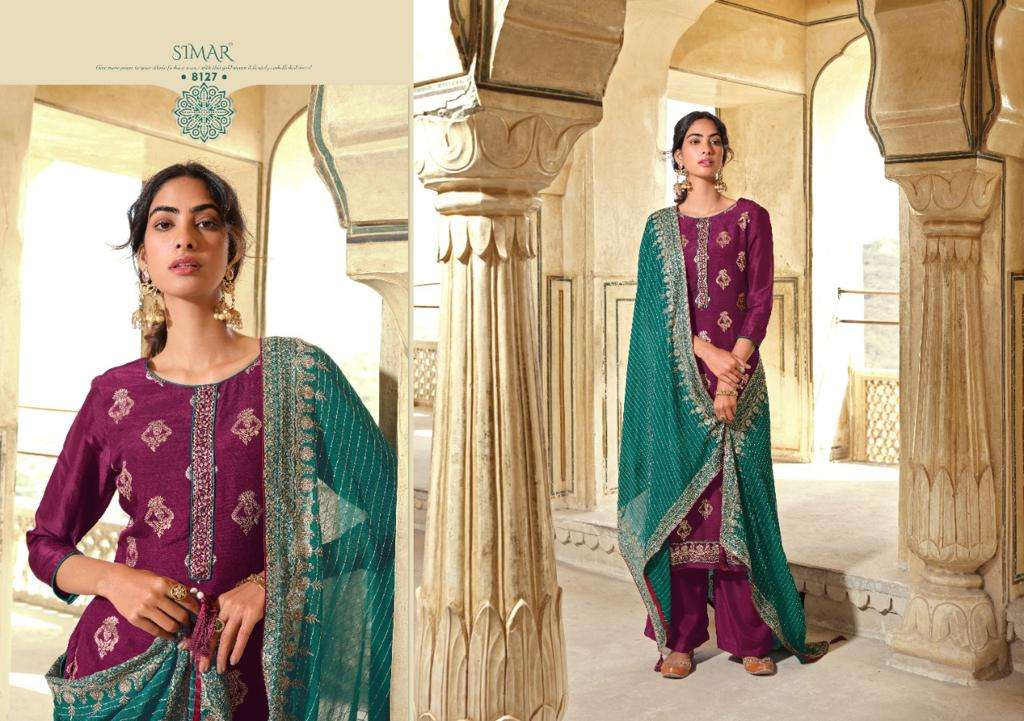 Glossy Simar Sana Viscose Dola Jacquard Weaving With Embroidery Work Dress Material collection