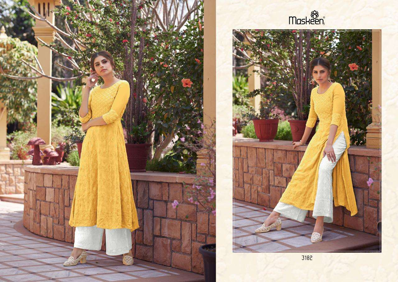Maisha Maskeen Monsoon Vol 3 Pure Georgette With Lucknowi Work Kurti With Palazzo Collection